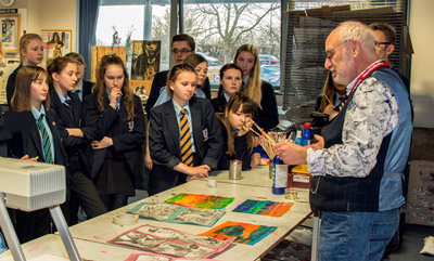 Pupils at Pershore High School taking part in Art Workshop